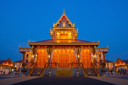 rajasuda: Night landscape of crematorium entrance for funeral ceremony of HRH Princess Bejaratana Rajasuda at Sanam Luang in Bangkok, Thailand