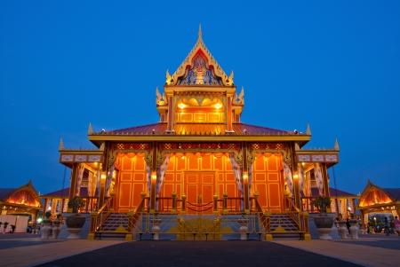 bejaratana: Night landscape of crematorium entrance for funeral ceremony of HRH Princess Bejaratana Rajasuda at Sanam Luang in Bangkok, Thailand