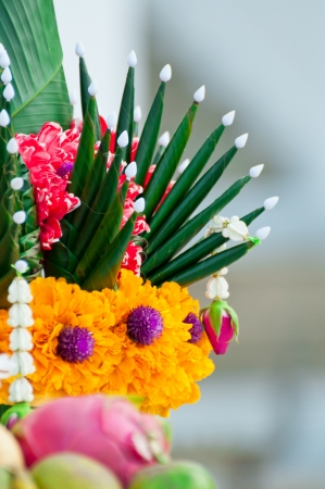 Garlands of flowers and sacrifice  For the idolatry of the king Stock Photo - 18246773