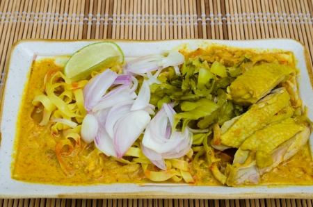 soi: A famous food of Northern of Thailand called KHAO SOI Stock Photo