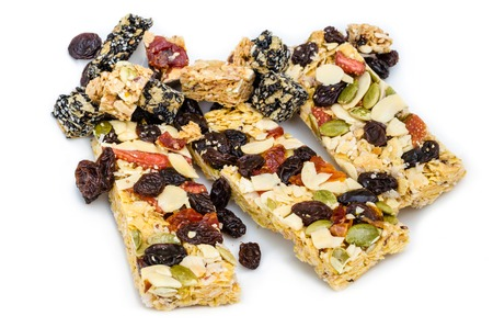 healthy snack: Germinate rice whole grains with fruits on white background Healthy Snack : Cereal Bars