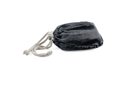 Little black textile pouch with rope straps isolated on white background Stock Photo