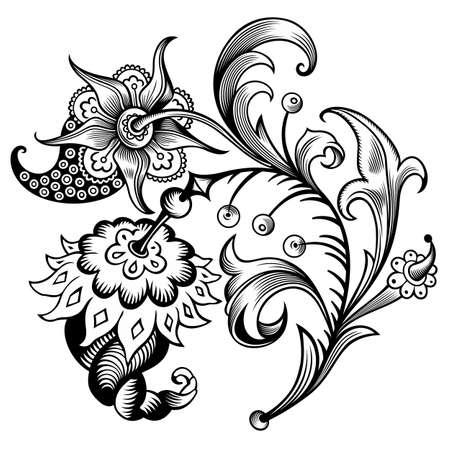 Floral illustration. Engraved nature elements Vecteurs