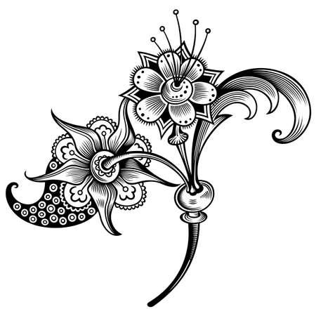 Floral illustration. Engraved nature elements Векторная Иллюстрация