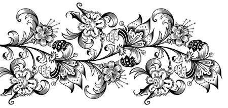 Floral illustration. Engraved nature elements