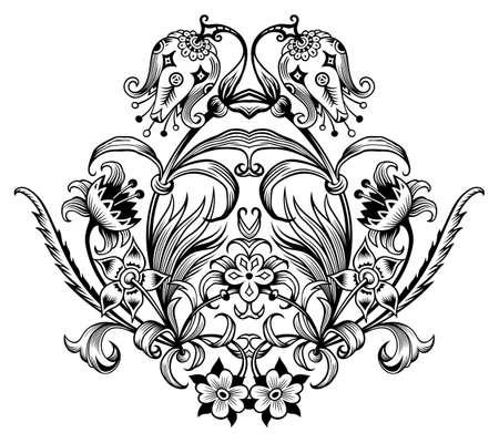 Floral illustration. Engraved nature elements Vettoriali