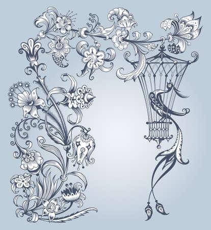 Floral and bird vector vintage illustration. Ilustração