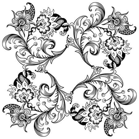 Floral hand drawn vector vintage border. Vektoros illusztráció