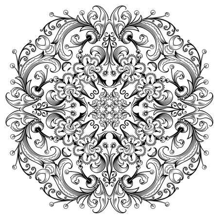 Vector floral ethnic ornamental illustration.