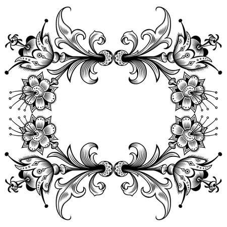 Floral vector vintage border. Frame design. Vettoriali