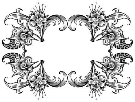 Floral vector vintage border. Frame design.