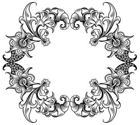Floral vector vintage border. Frame design. Vetores
