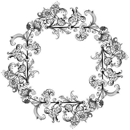 Floral vector vintage border. Frame design. Vecteurs