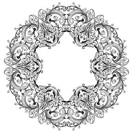 Vector decorative floral ethnic illustration.