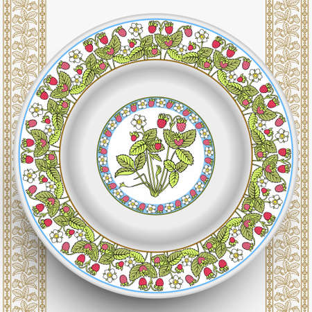 Vector plate with decorative berry ornament