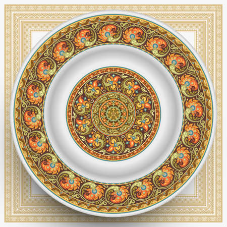 Vector plate with abstract decorative ornament 矢量图片