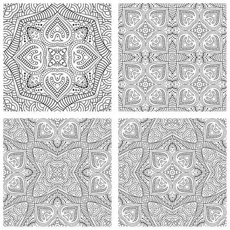 Vector abstract ethnic hand drawn backgrounds set