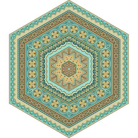 Vector abstract ethnic mandala hexahedron figure