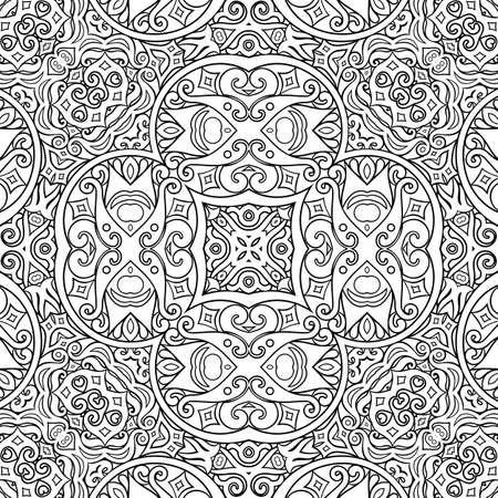 Vector ethnic line art hand drawn background Vector Illustration