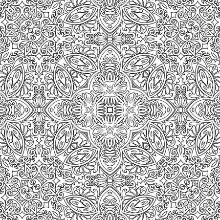 Vector ethnic line art hand drawn background Иллюстрация