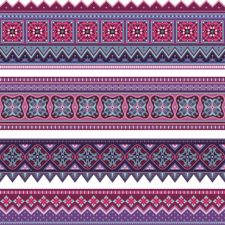 Abstract ethnic stripes. Ornamental borders set