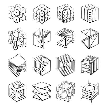 Set of 3D geometric shapes cube designs Vecteurs