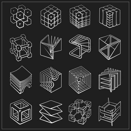 Set of 3D geometric shapes cube designs