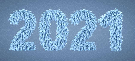 Vector 2021 from geometric frosty icicles Ilustrace