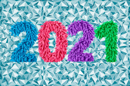 Vector 2021 from geometric frosty icicles