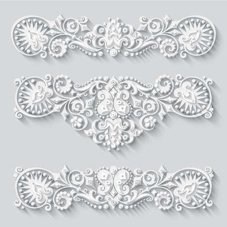 Vector modern volumetric floral elements