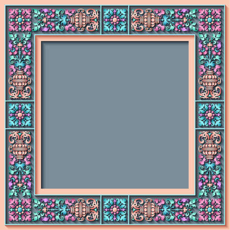 Vector abstract ornamental ethnic vintage frame.