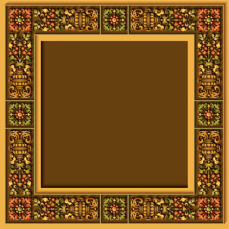 Vector abstract ornamental ethnic vintage frame. Vector Illustration