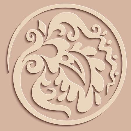Vector modern paper cut floral element.