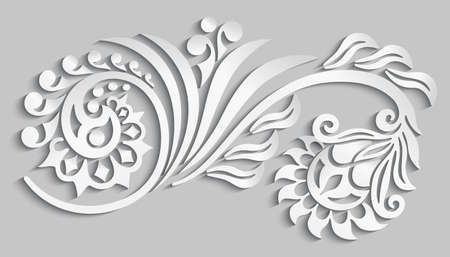 Vector floral elements. 3d effect imitation