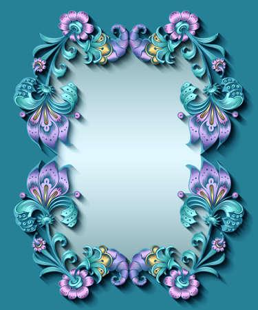 Floral hand drawn vector border.