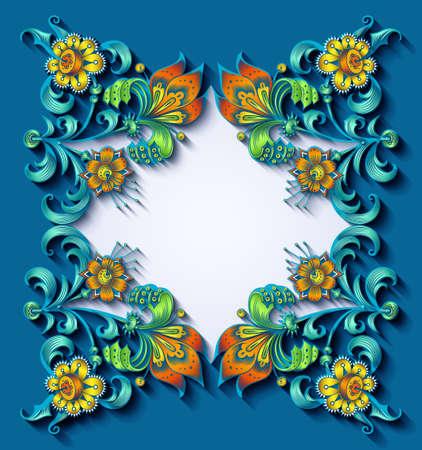 Floral hand drawn vector border. Nature elements and objects Ilustração