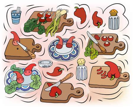 Home Cooking vector illustration Vecteurs
