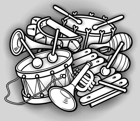 Cartoon kids cute doodles musical instruments