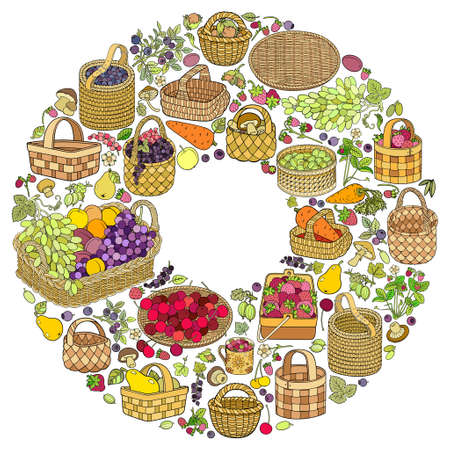 A lot of fruits, vegetables and berries in baskets