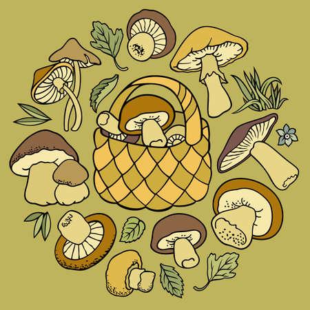 Mushrooms nature cartoon vector illustration