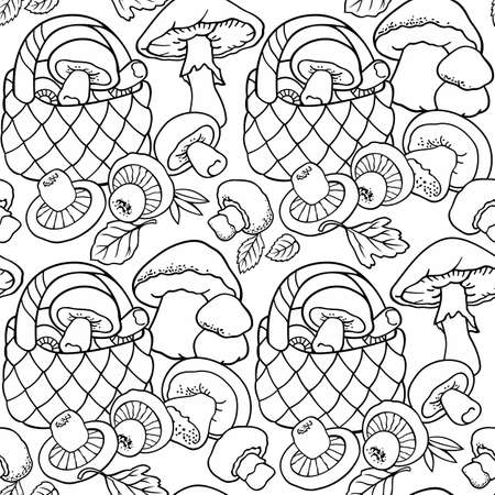 Mushrooms in baskets cartoon seamless pattern