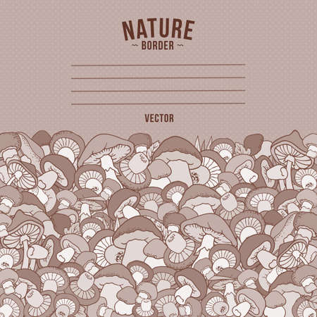 Mushrooms nature cartoon vector hand drawn border