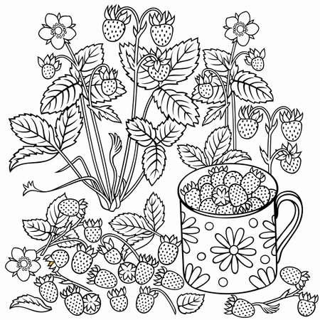Strawberries cartoon hand drawn illustration 矢量图像