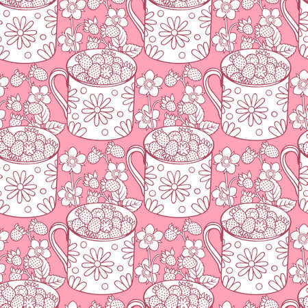 Strawberries cartoon hand drawn seamless pattern