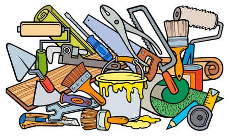Cartoon doodle hand drawn home repair illustration