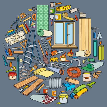 Cartoon doodles home repair round illustration