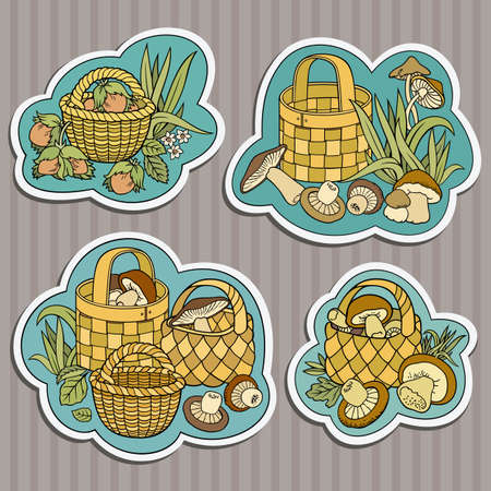 Funny hand drawn nuts and mushrooms in baskets