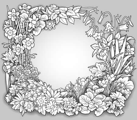 Flowers hand drawn vector doodles illustration.