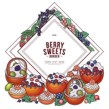 Sweets, berries, fruits doodles illustration