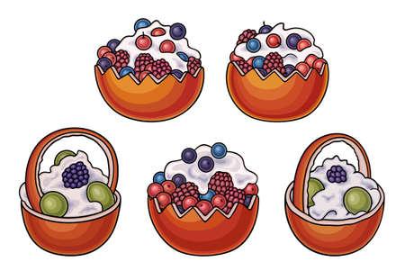 Sweet food hand drawn vector doodles illustration